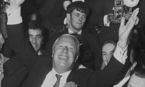 British statesman Edward Heath celebrates the Conservative Party win in the General Election in 19710.