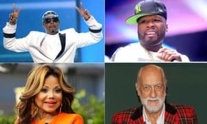 Bankrupt popstars - clockwise from top left: MC Hammer, 50 Cent, Mick Fleetwood  and La Toya Jackson.