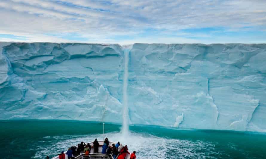 meltwater waterfall icecap cruise ship
