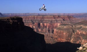 Don't try this at home … Robbie Knievel flies over a gap across Arizona's Grand Canyon on 20 May, 1999 before crashing and sustaining injuries.