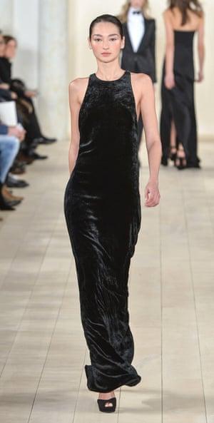 Model on catwalk at the Ralph Lauren show, autumn/winter 2015