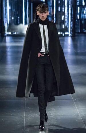 Model on the catwalk at the Saint Laurent show, autumn/winter 2015, Paris fashion week.