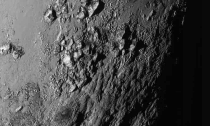 A close-up image of a region near Pluto's equator
