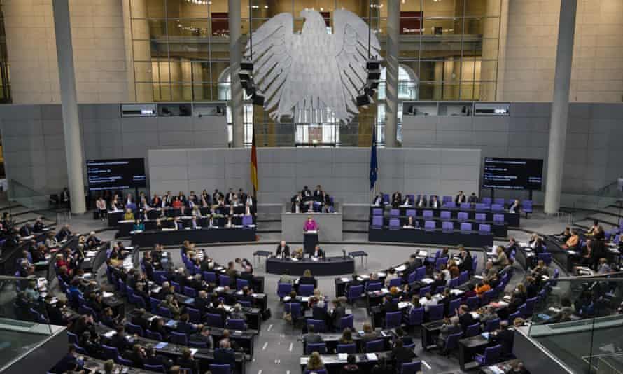 Angela Merkel addresses a session of the Bundestag  in Germany.