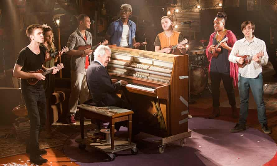 Burt Bacharach (on piano) joins the cast at the press-night curtain call of What's It All About? devised by Kyle Riabko (left).