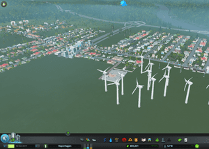 At 5,000, my little town survives solely on wind power. My denizens are happy and pollution is negligible.