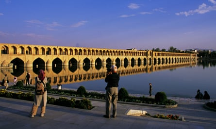 """The Siosepol bridge, whose name means bridge of 33 arches, in Isfahan, Iran's top tourist destination. It crosses Zayandeh Rud, the """"life-giving river"""", connecting two halves of the city build during the Safavid dynasty."""