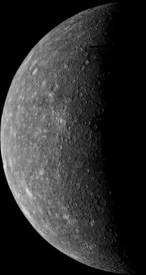 Mariner 10 took this shot of Mercury in March 1974, using the planet's gravitational pull to slingshot towards it