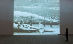 An image from Tan's Leviathan, archival footage of the stripping of a whale, which is part of the show at the Baltic.