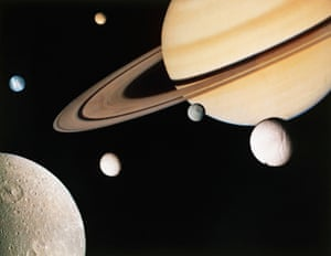 Montage of Saturn and six of the planet's moons, created from images taken by Voyager 1 in November 1980