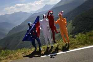 Supporters wait at the roadside during the 11th stage of the Tour de France between Pau and Cauterets