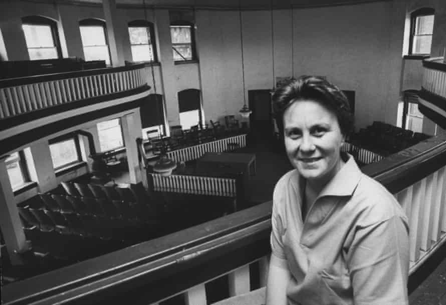 Harper Lee in a local courthouse while visiting her home town of Monroeville in 1961.