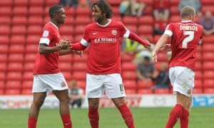 Mido, middle, at pre-season training with Barnsley in 2012.
