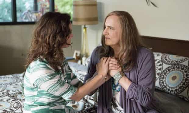 Jeffrey Tambor, right, as Maura, and, Amy Landecker as Sarah, in Transparent.