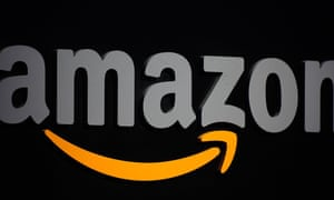 Amazon logo displayed at a press conference in New York.