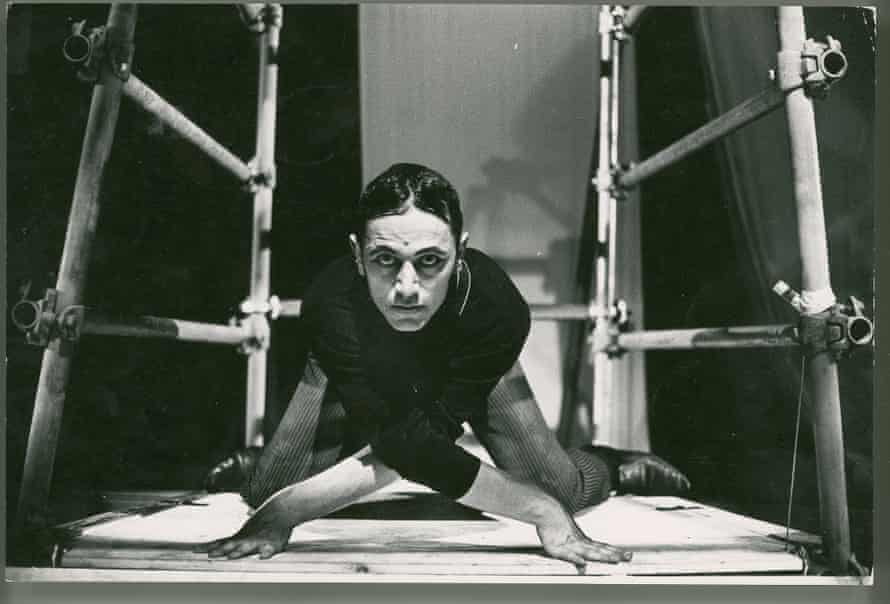 Steven Berkoff in his adaptation of <em>Metamorphosis</em> at London's Roundhouse, in 1969.