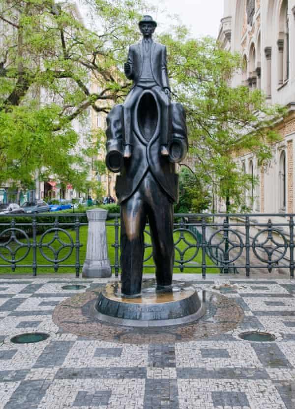 Statue of Franz Kafka in Prague.