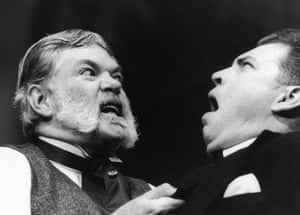 Alan Bennett's play <em>Kafka's Dick</em> at the Theatre Royal, York in 2001, with Matthew Kelly as Hermann Kafka and Matthew Rixon as Franz.