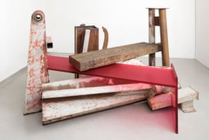 Terminus (2013), one of Anthony Caro's last sculptures, blends steel, jarrah wood and frosted red Perspex.