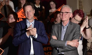 Nick Clegg and Norman Lamb listen to new leader Tim Farron.