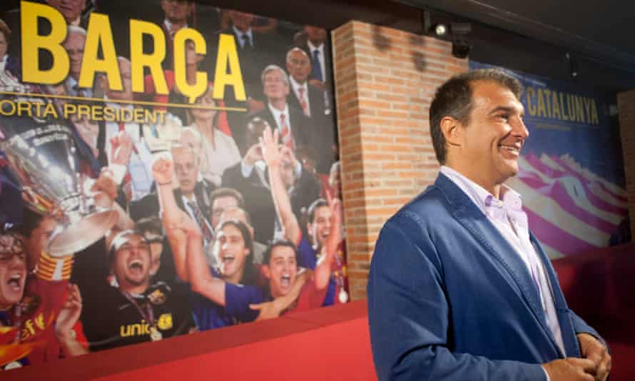 Joan Laporta at his HQ in the week leading up to the Barcelona presidential elections.