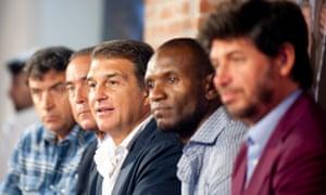 From left to right: Alexanko, Yuste, Laporta, Abidal and Albertini.