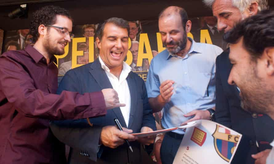 Joan Laporta in good spirits in the final week of his campaigning.