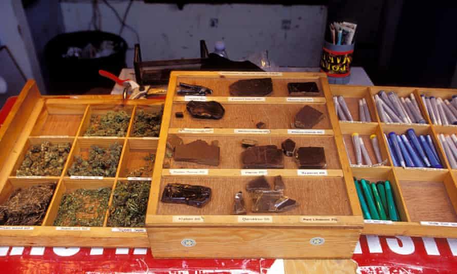 Hash and marijuana for sale in Christiania's 'Pusher Street'.
