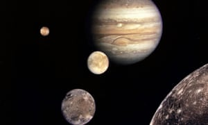 A Nasa file image shows Jupiter  and its four planet-size moons, the Galilean satellites