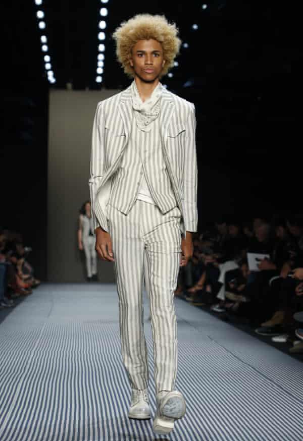 A model on the John Varvatos catwalk at Men's Fashion Week in New York