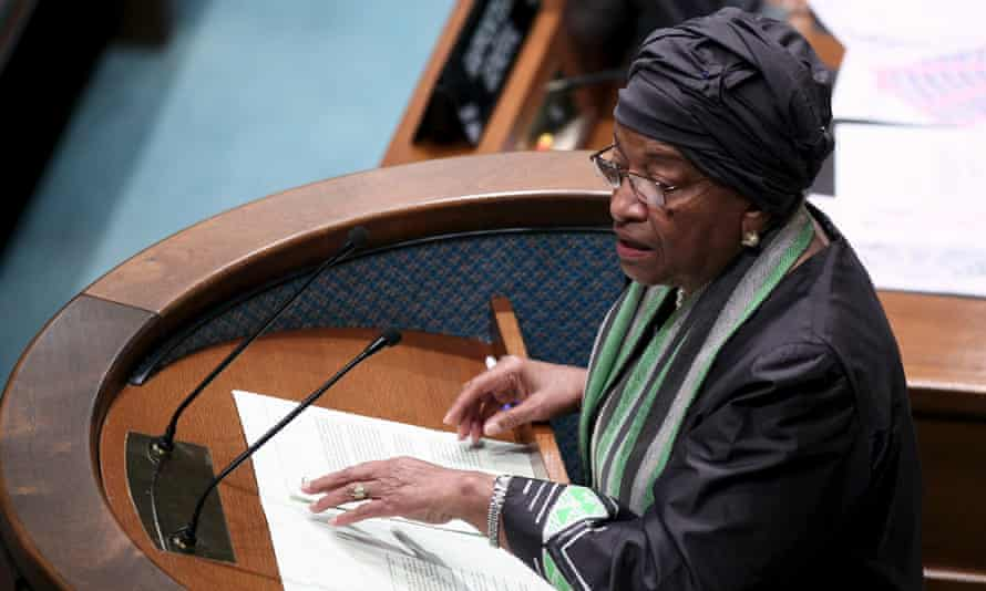 Talking the talk …the Liberian president Ellen Johnson Sirleaf at the opening of the development finance summit in Addis Ababa.