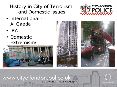 A slide from a City of London police counter-terrorism awareness sessions for nurseries