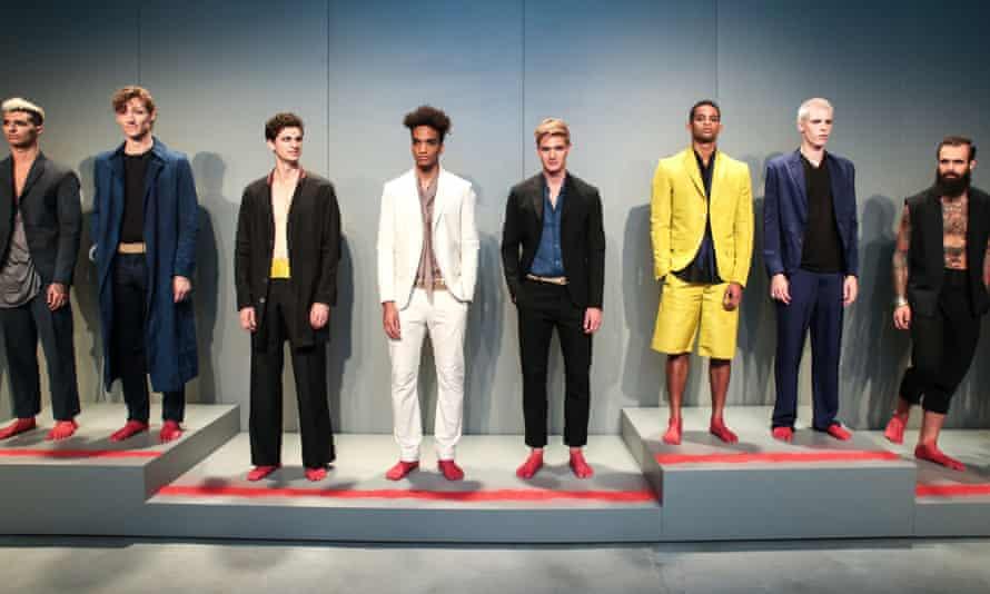 Models at the deTROIT Spring Summer 2016 show at New York fashion week: men's.