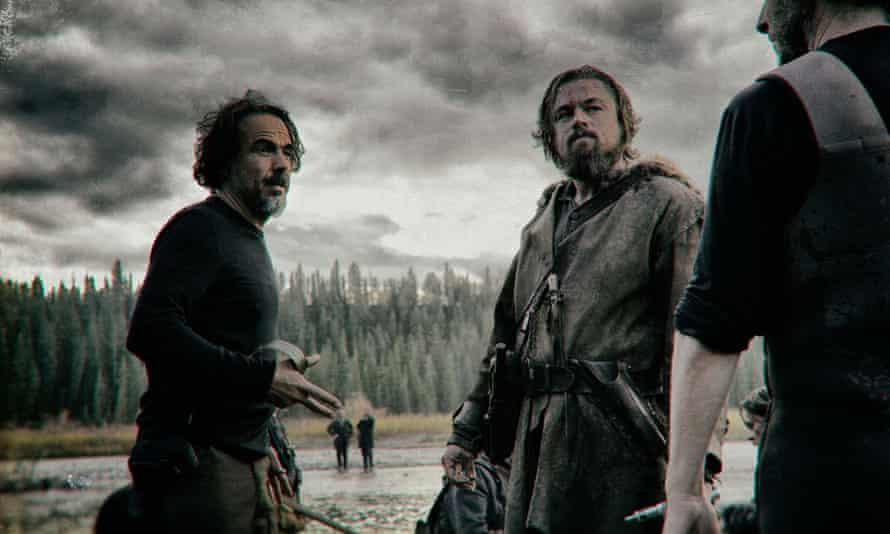 The Revenant: Alejandro González Iñárritu on set with Leonardo DiCaprio