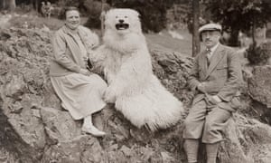 Smile, please … a German couple pose with a furry bear.