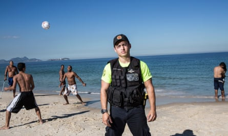 Lucky to be out of the line of fire … Copacabana tourist police officer Marcus Azevedo.