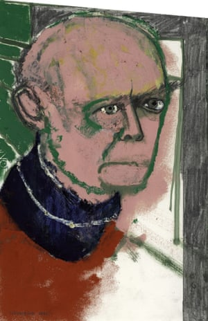 William Utermohlen, Self Portrait (with Red Shirt), 1996, painted the year after his daignosis.