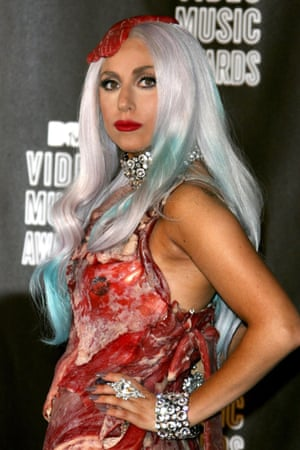 Lady Gaga at the 2010 MTV awards in her notorious meat dress.