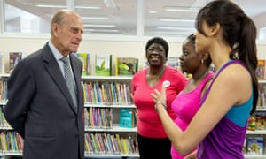 Here he goes again: Prince Philip at the Chadwell Heath community centre in east London.