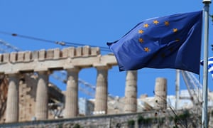 An EU flag flying in front of the Parthenon