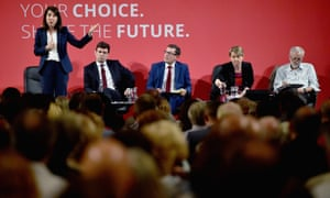 Liz Kendal speaks as the other candidates to be Labour leader look on during a hustings in Glasgow.