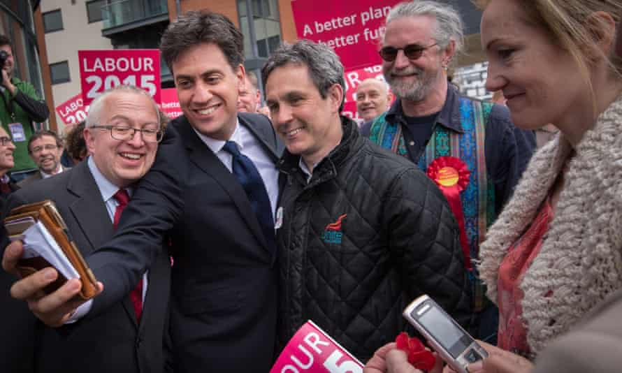 Ed Miliband campaigning in the lead up to the general election in May.
