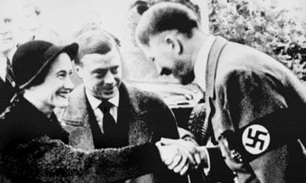 The Duke and Duchess of Windsor meet with Adolf Hitler in Munich in 1937.