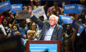Bernie Sanders speaks to the crowd at the Phoenix Convention Center on Saturday.