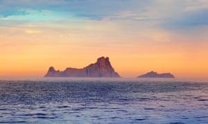Ibiza sunset in Balearic islands.