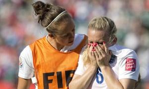 England's Josanne Potter, left, consoles Laura Bassett after their cruel World Cup exit.