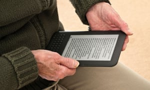 Woman reading on a Kindle
