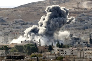 An airstrike by US-led coalition aircraft in Kobani, Syria