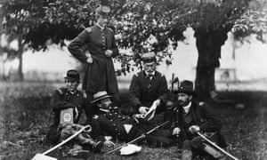 June 1863: Union army officers study The Art of War by Sun Tzu outside Fairfax Court House, Virginia.