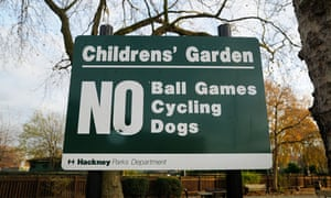 No ball games sign on Hackney Downs